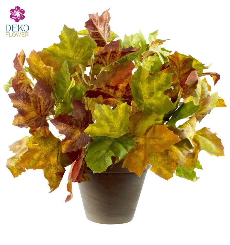 Ahornbusch Kunstpflanze 29 cm grün gelb