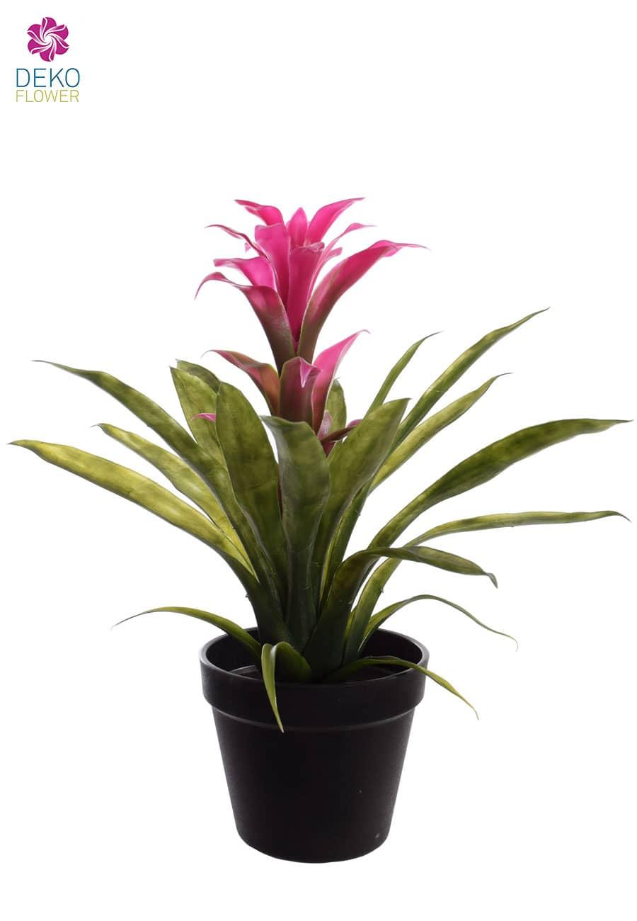 Bromelien Kunstpflanze pink 35 cm