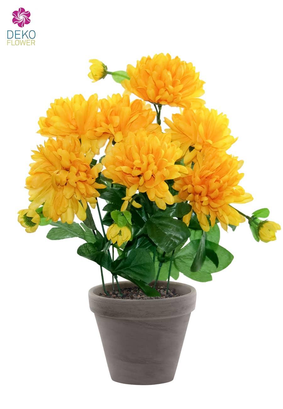k nstlicher chrysanthemen gelb im tontopf 34cm. Black Bedroom Furniture Sets. Home Design Ideas