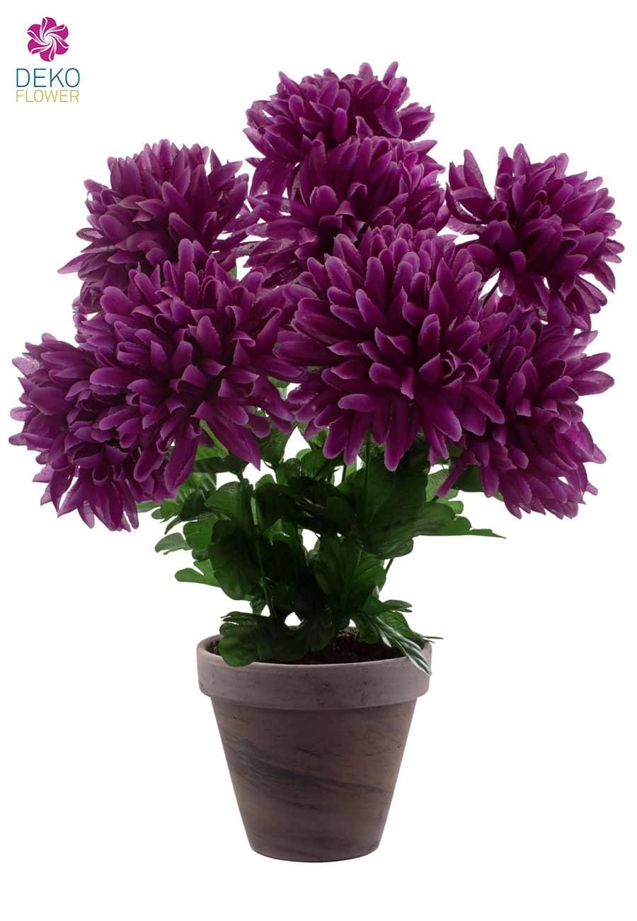 Künstliche Chrysanthemen im Topf violett 45 cm