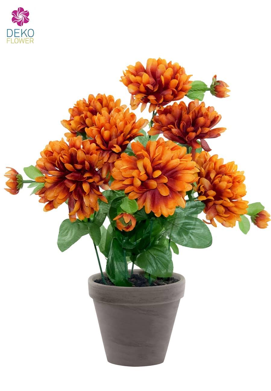 Künstliche Chrysanthemen Topfblumen orange braun 34 cm