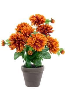 Künstlicher Chrysanthemen orange-braun im Tontopf 34cm