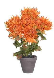 Künstlicher Chrysanthemen im Tontopf orange 34cm