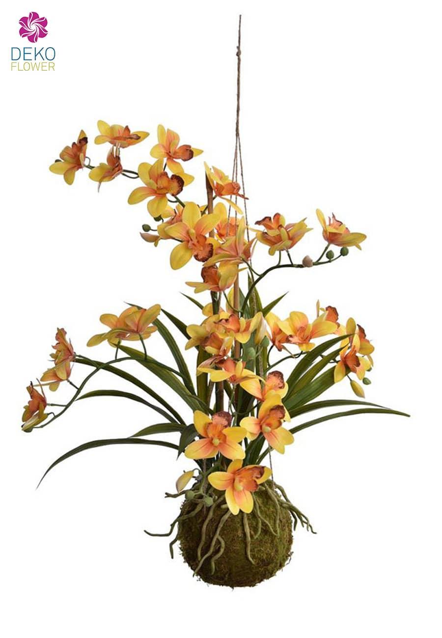 Cymbidium hängende Orchidee gelb 80 cm