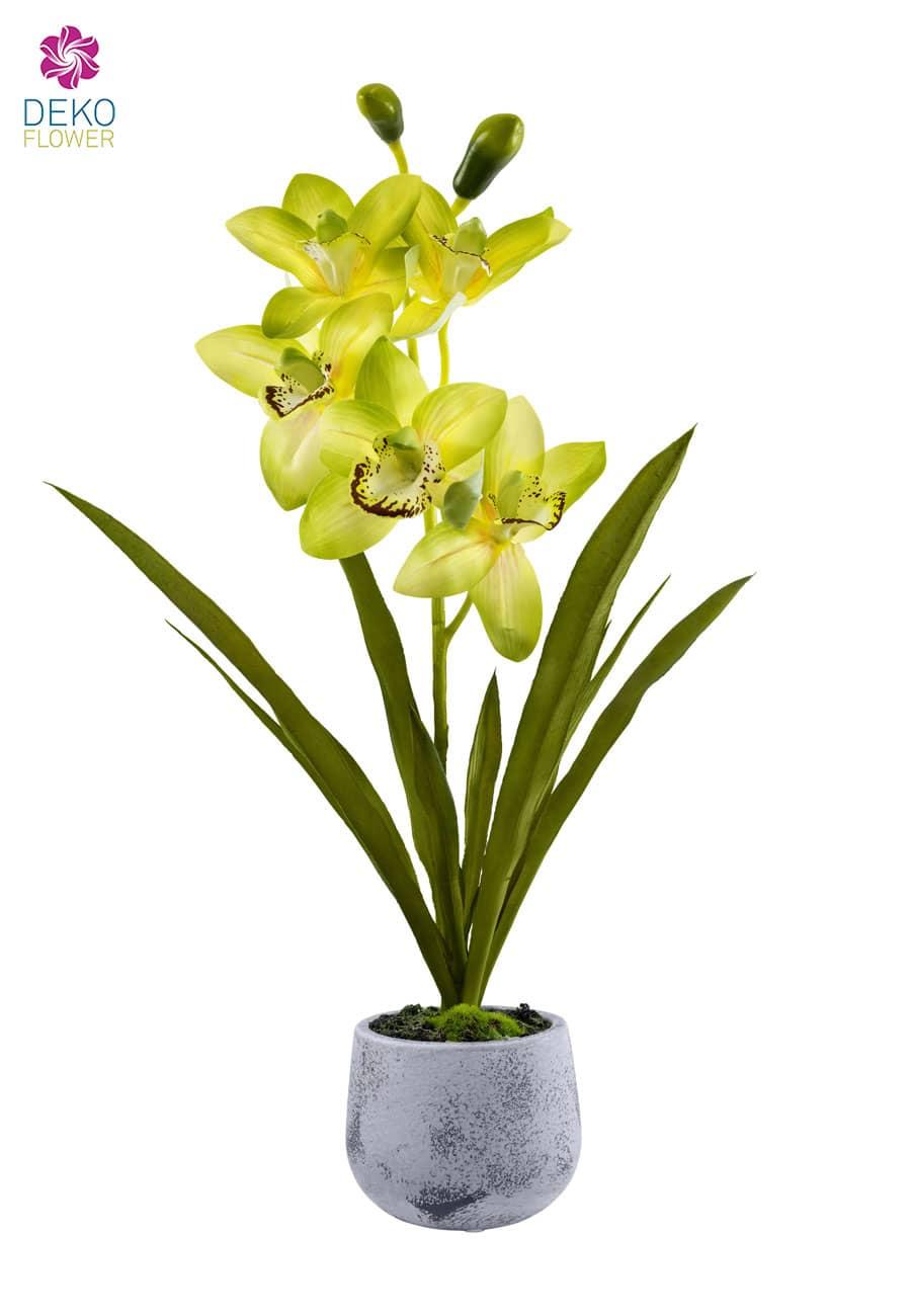 Cymbidium Orchidee künstlich grün 55 cm