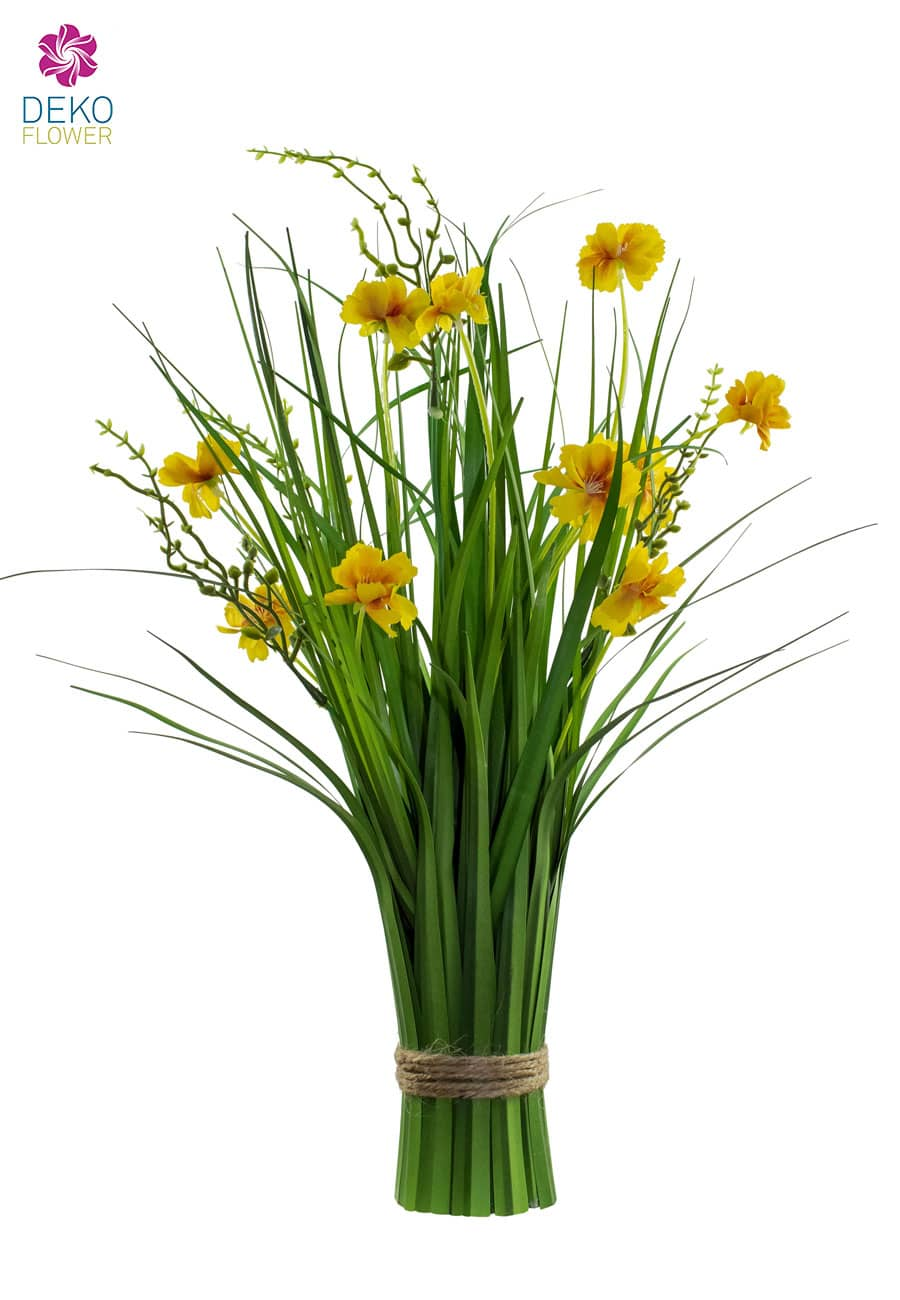 Dekogras Bündel mit Kosmeen gelb 48 cm