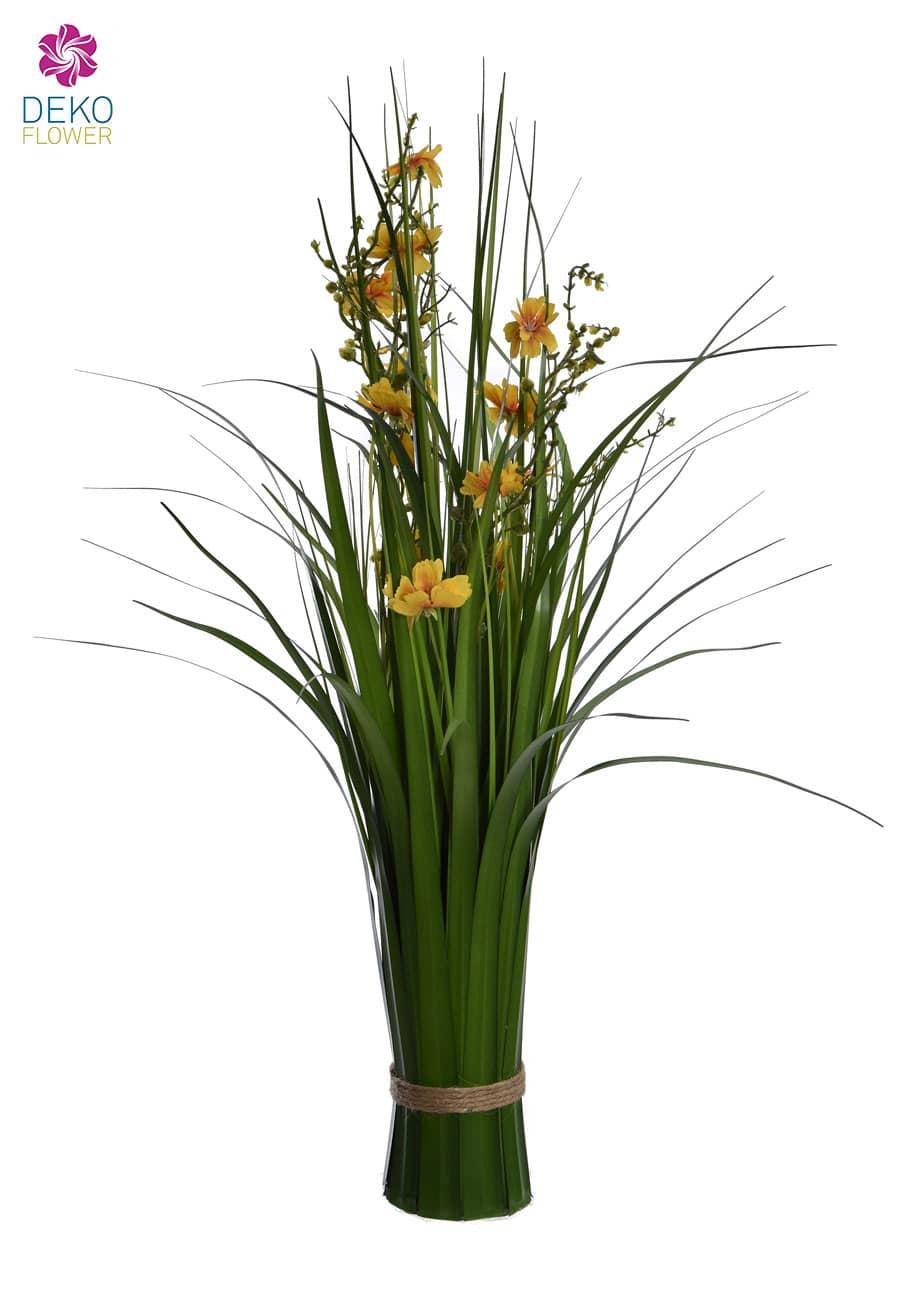 Dekogras Bündel 66 cm gelbe Blüten