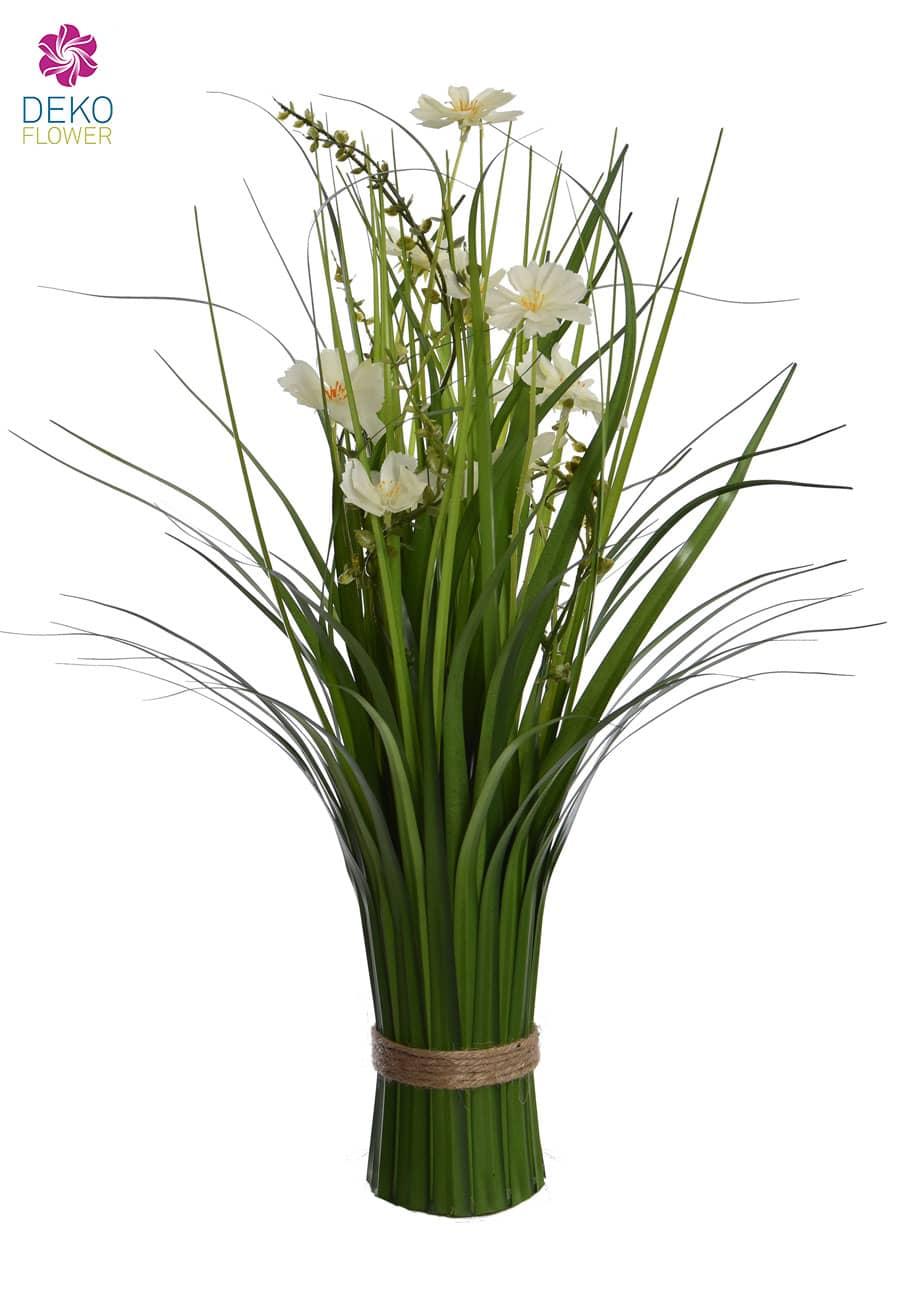 Dekogras Bündel mit weißen Blüten 48 cm