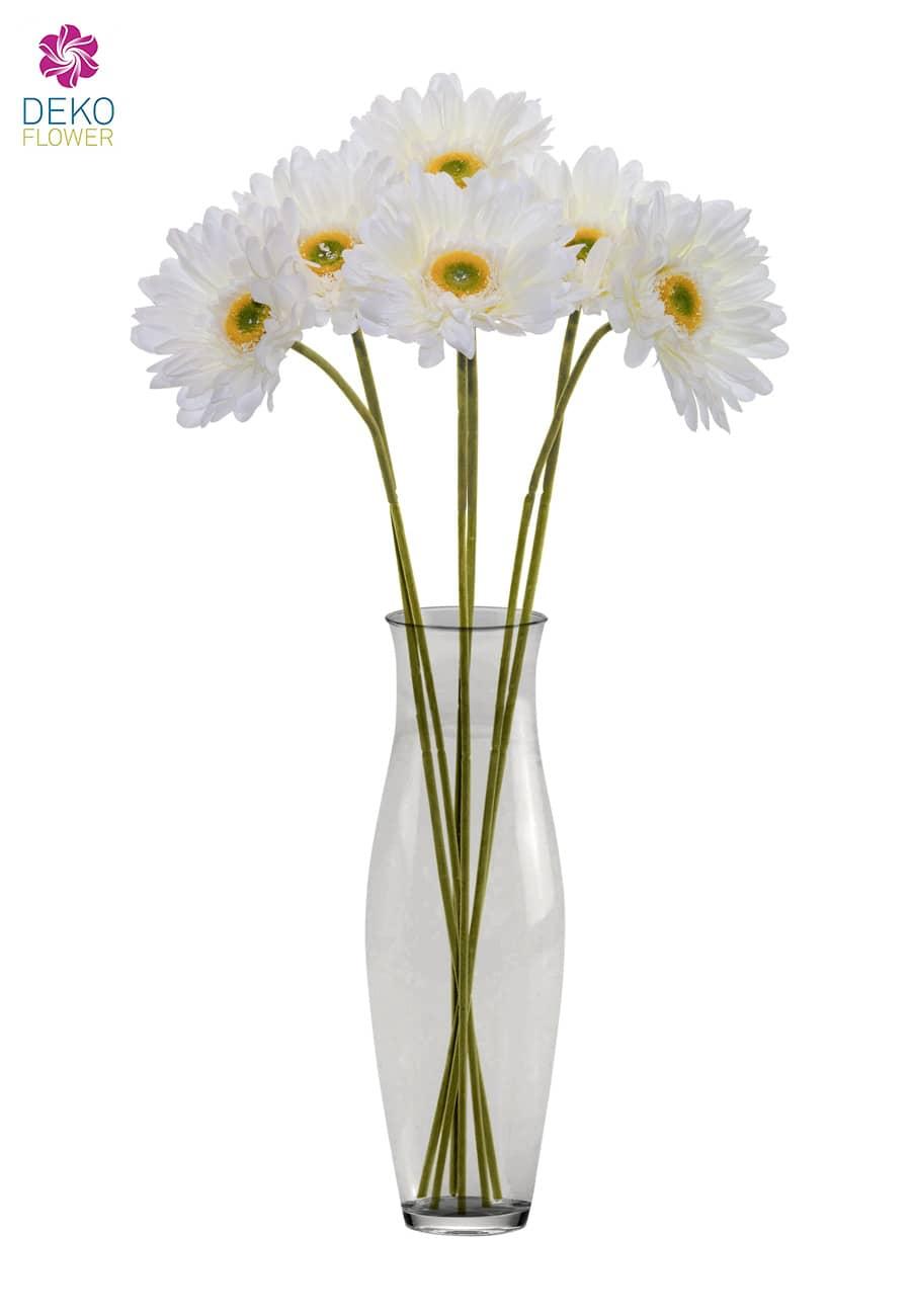 Gerbera Kunstblumen weiß 77 cm 6er Pack