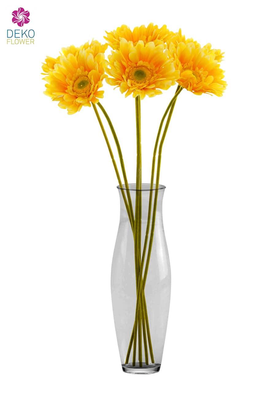 Gerbera Kunstblumen gelb 56 cm 6er Pack