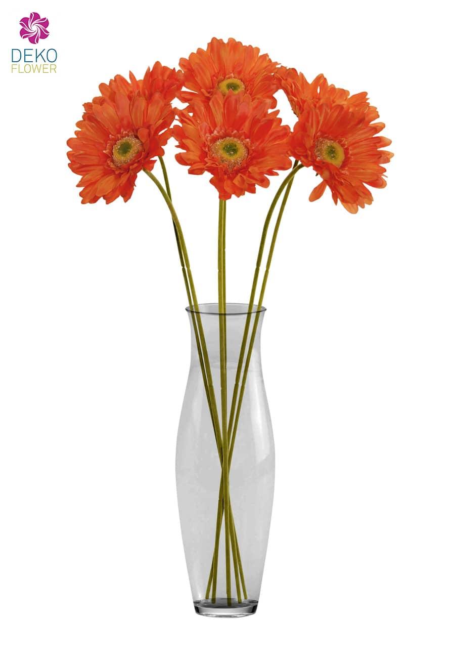 Künstliche Gerbera orange 56 cm, 6er-Pack