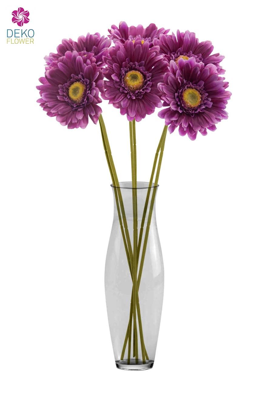 Gerbera Kunstblumen violett 56 cm 6er Pack