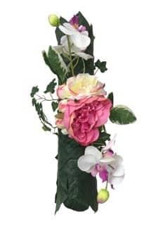 Gesteck Pfingstrose creme-pink 40cm