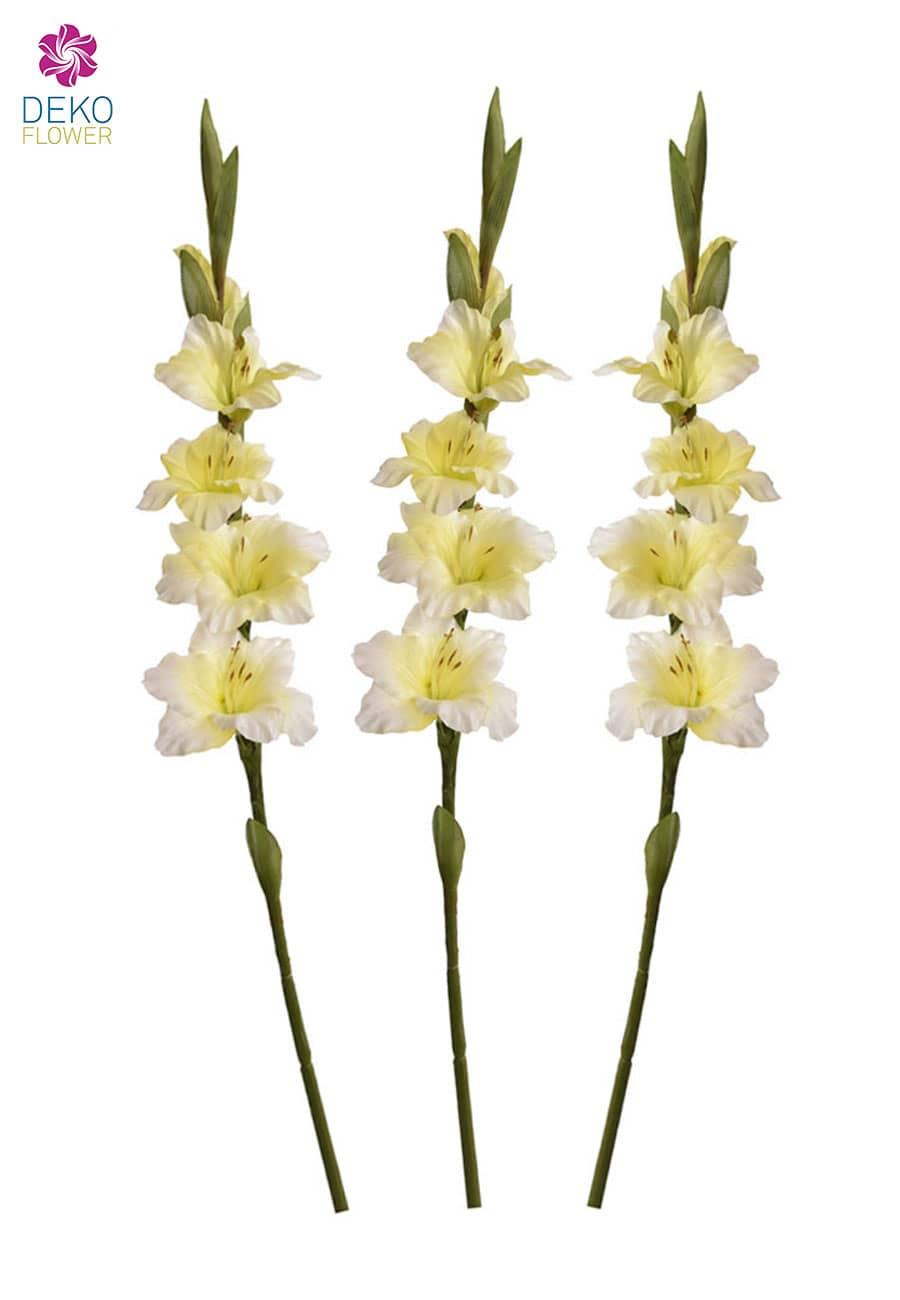 Gladiolen Kunstblumen cremegelb 85 cm, 3er-Pack
