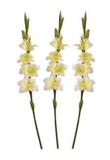 Gladiolen Kunstblumen cremegelb 85 cm