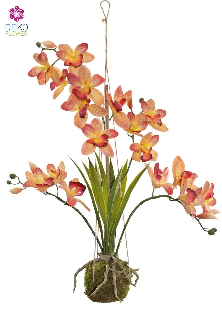 Hängende Cymbidium Orchidee orange 63 cm