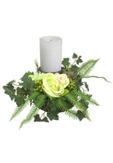 Rosengesteck mit Kerzenhalter creme-grün 17cm