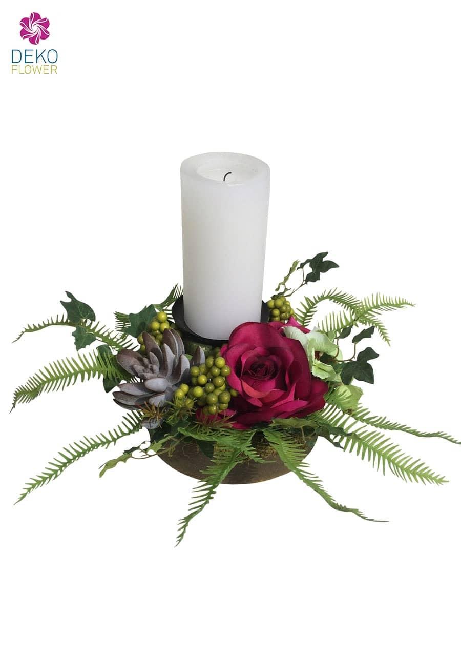Rosengesteck mit Kerzenhalter pink 17cm