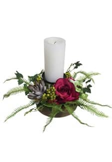 Rosengesteck mit Kerzenhalter pink 17 cm