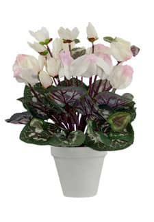 Künstliche Alpenveilchen Topfblumen 35 cm weiß