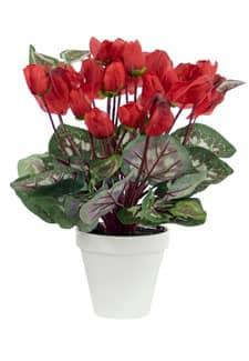 Alpenveilchen Kunstpflanze rot 35cm, getopft