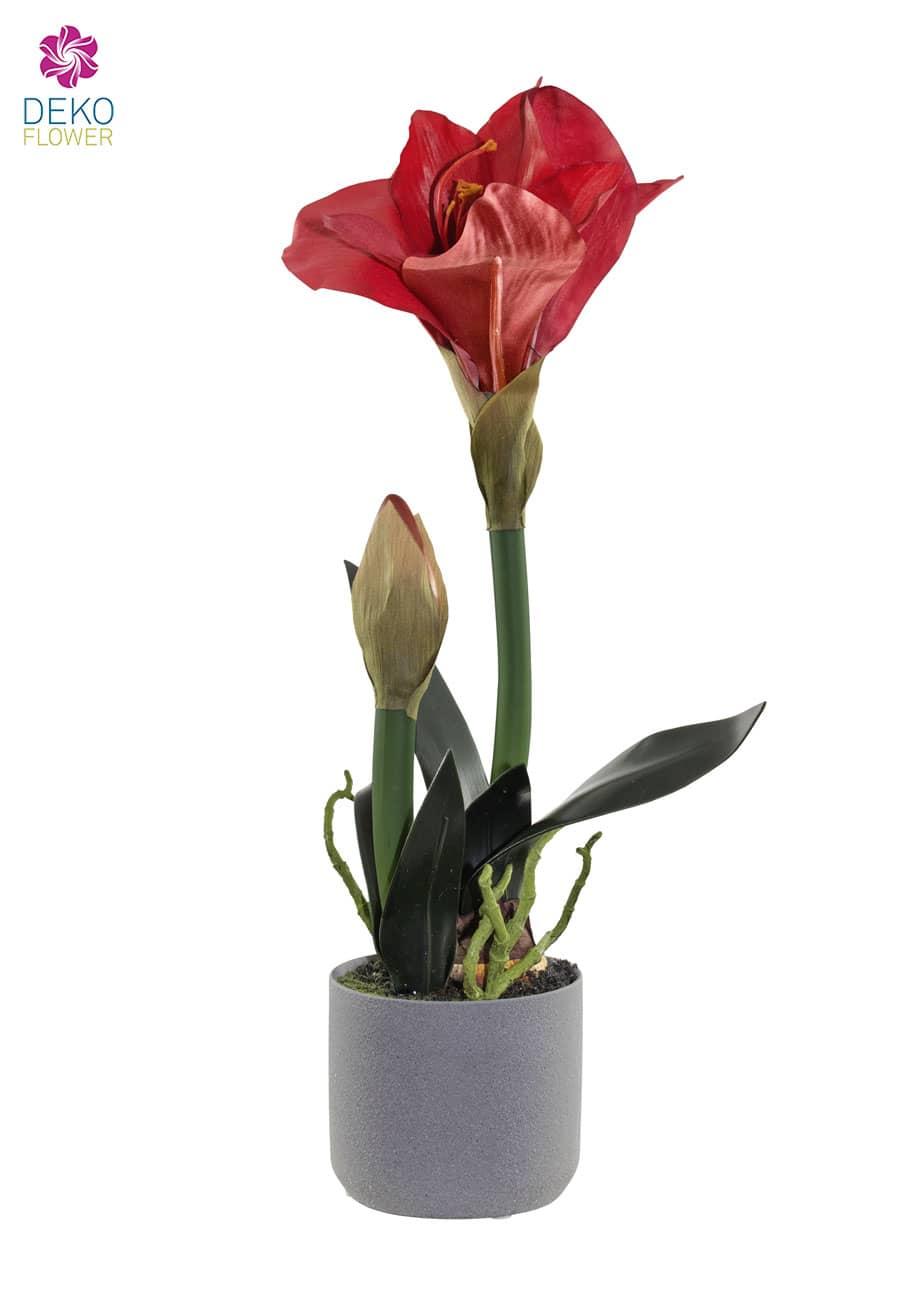 Künstliche Amaryllis rot 44 cm