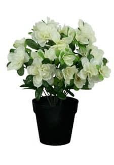 Azaleen Kunstblumen im Topf weiß 27 cm