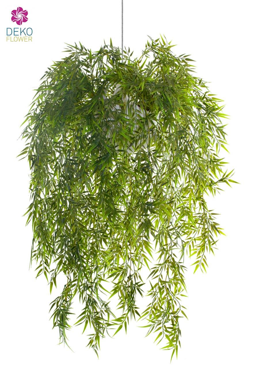 Künstliche Bambus Ranke 80 cm in hängendem Kugeltopf