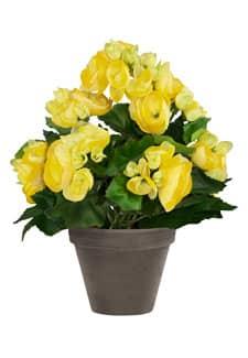 Künstliche Begonien gelb 28 cm