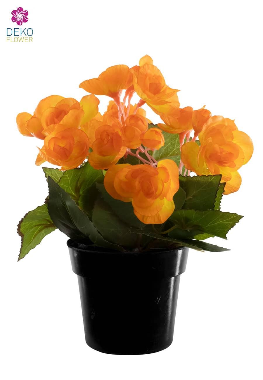 Künstliche Begonien Topfblumen orange 22 cm