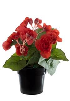 Künstliche Begonien Topfblumen rot 22 cm