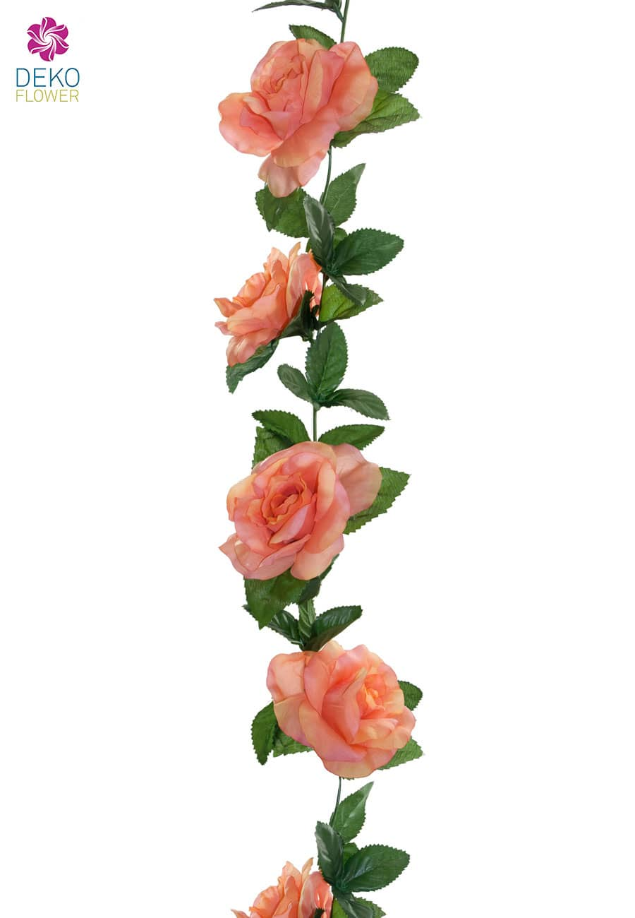 Künstliche Rosengirlande lachsgelb 180 cm