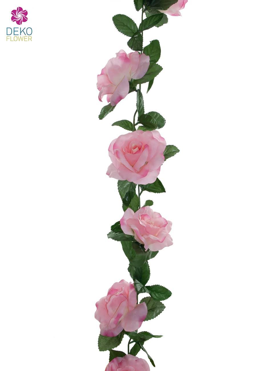 künstliche Blumengirlande Rosen rosa 180 cm