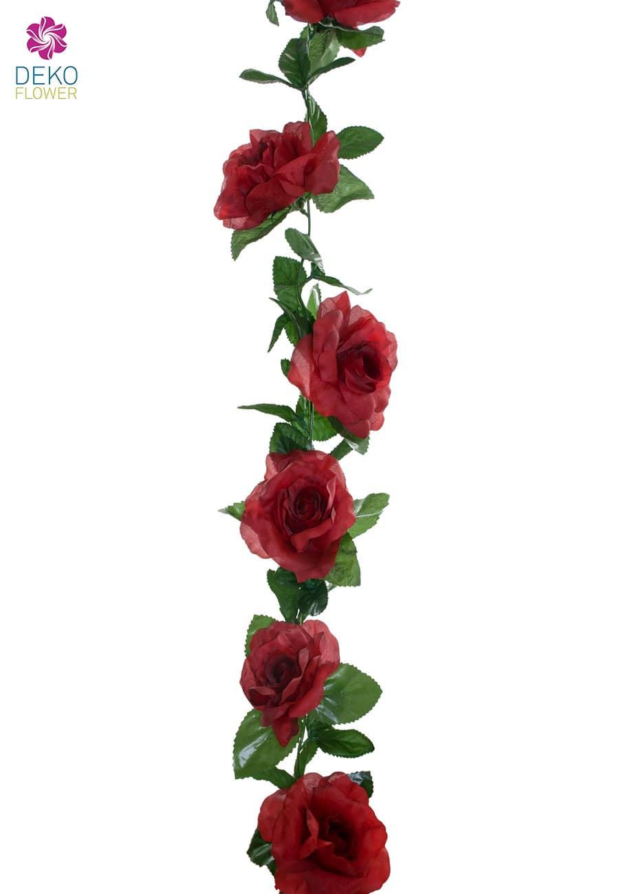 Künstliche Rosengirlande rot 180 cm