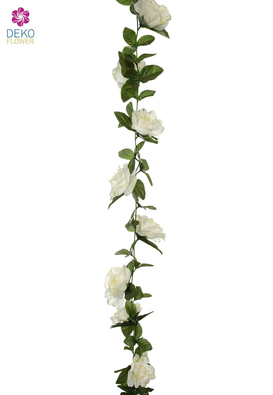 Künstliche Blumengirlande Rosen weiß 180 cm