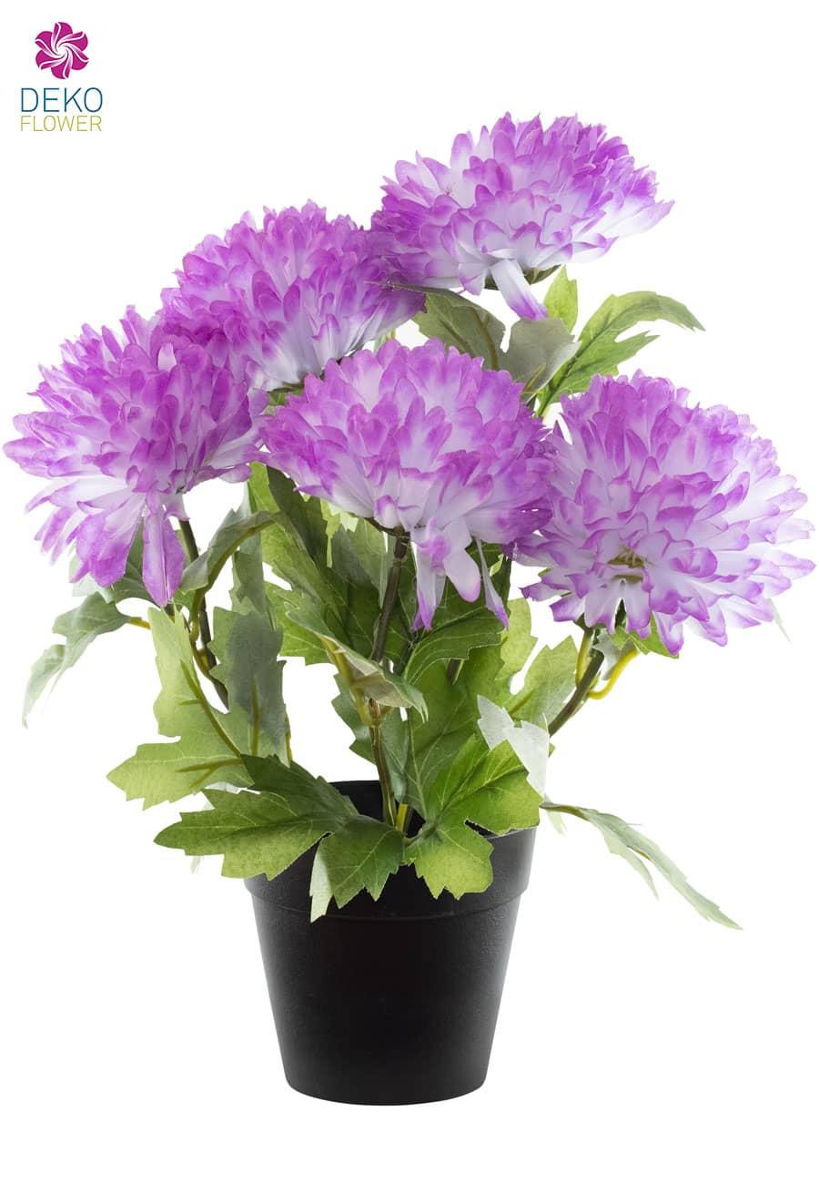 Künstliche Chrysanthemen 32 cm lavendel rund