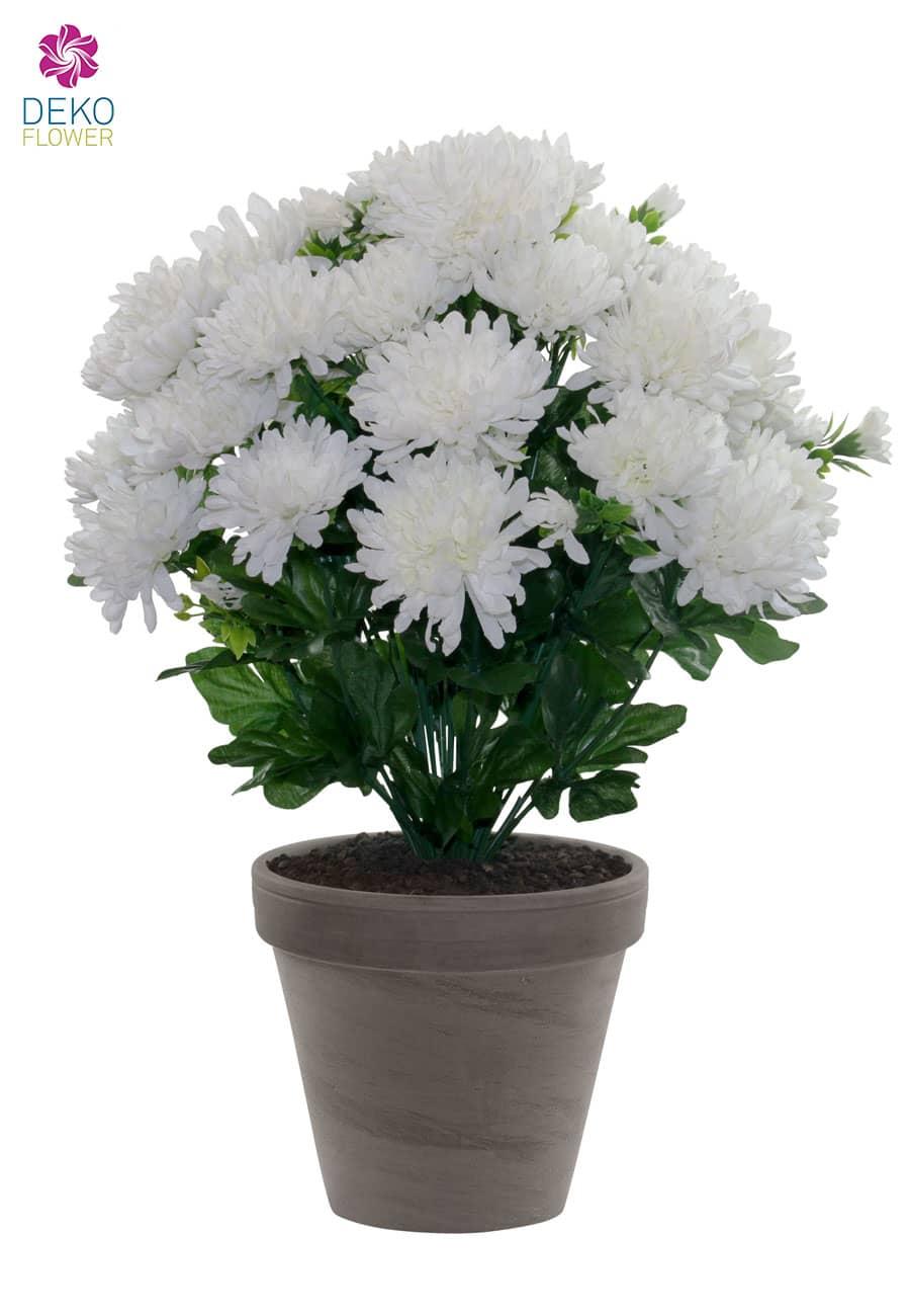 Künstliche Chrysanthemen Topflumen weiß 43 cm