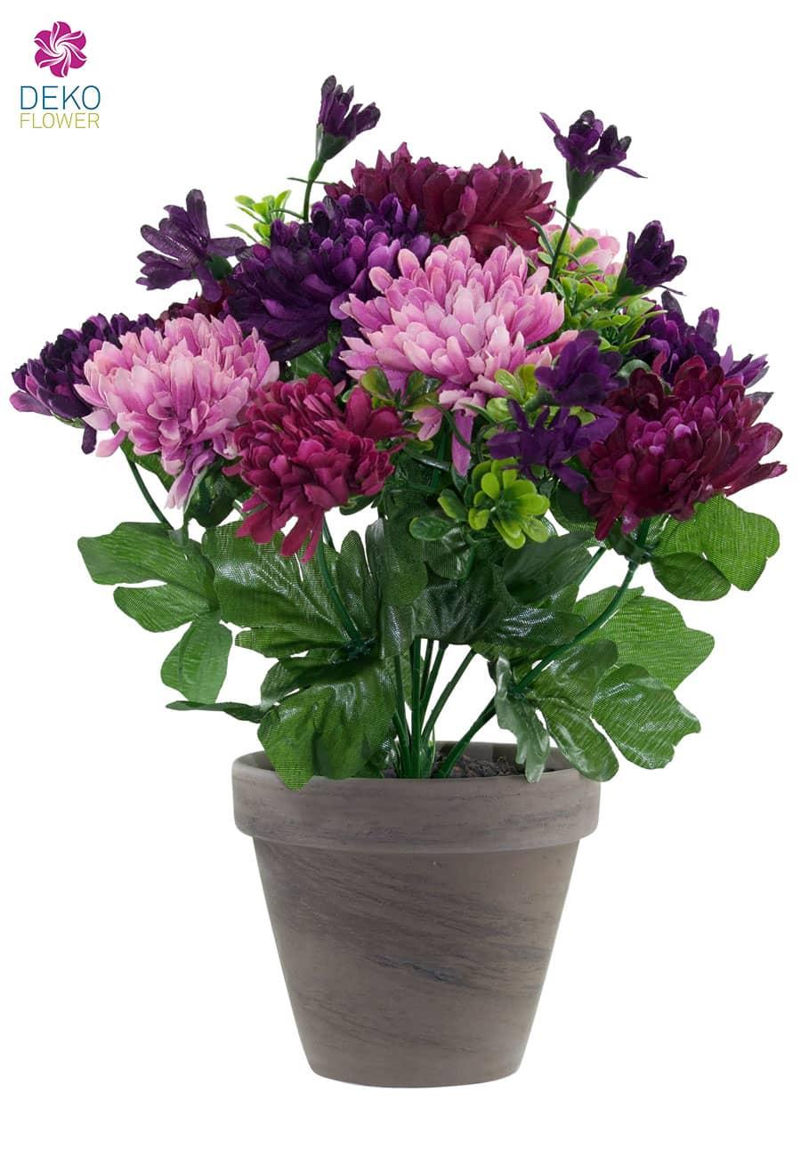 Chrysanthemen Kunstblumen violett lavendel 29 cm im Topf