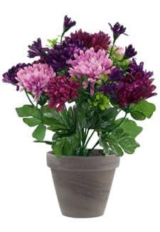 Künstlicher Chrysanthemen Busch violett-lavendel 29cm im Tontopf