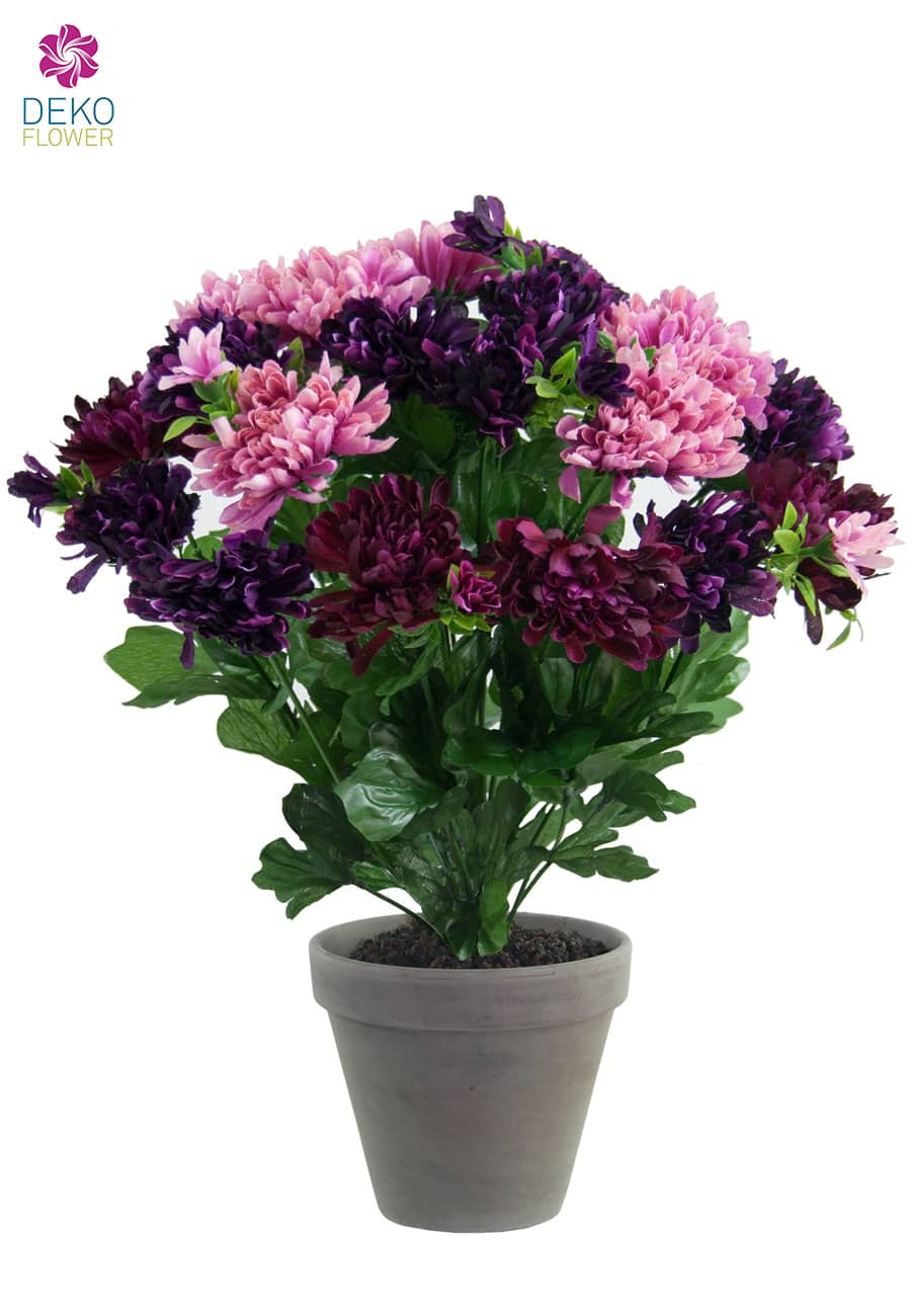 Künstliche Chrysanthemen Blumen violett lavendel 36 cm im Topf