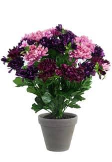 Künstlicher Chrysanthemen Busch violett-lavendel 36cm im Tontopf