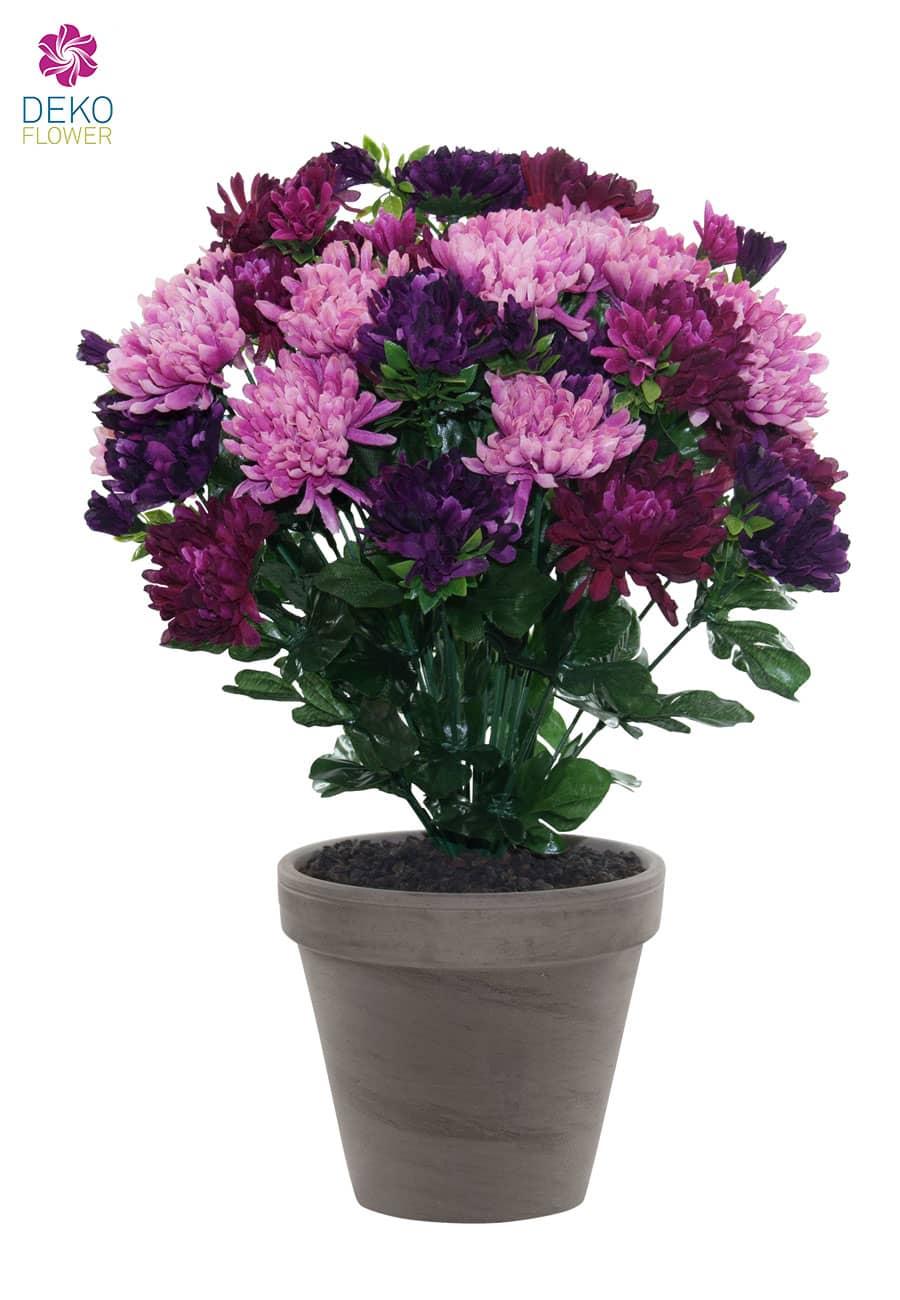 Künstlicher Chrysanthemen Busch violett-lavendel 43cm im Tontopf