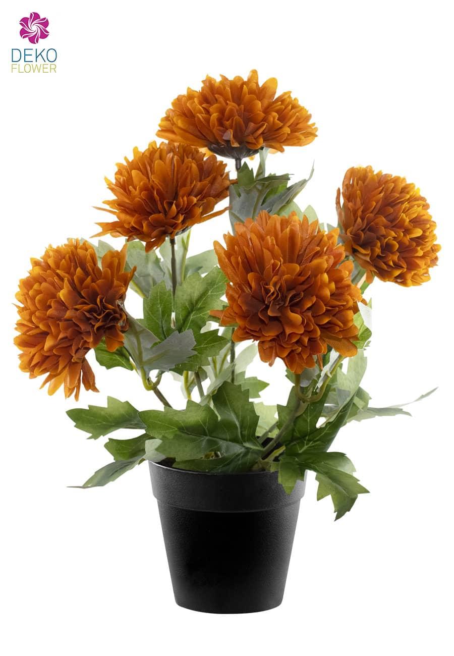 Künstliche Chrysanthemen orange 32 cm rund