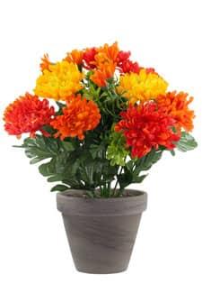 Chrysanthemen Kunstblumen orange gelb 29 cm im Topf