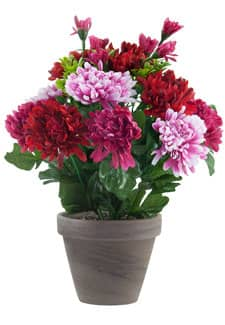 Chrysanthemen Kunstblumen pink rosa 29 cm im Topf