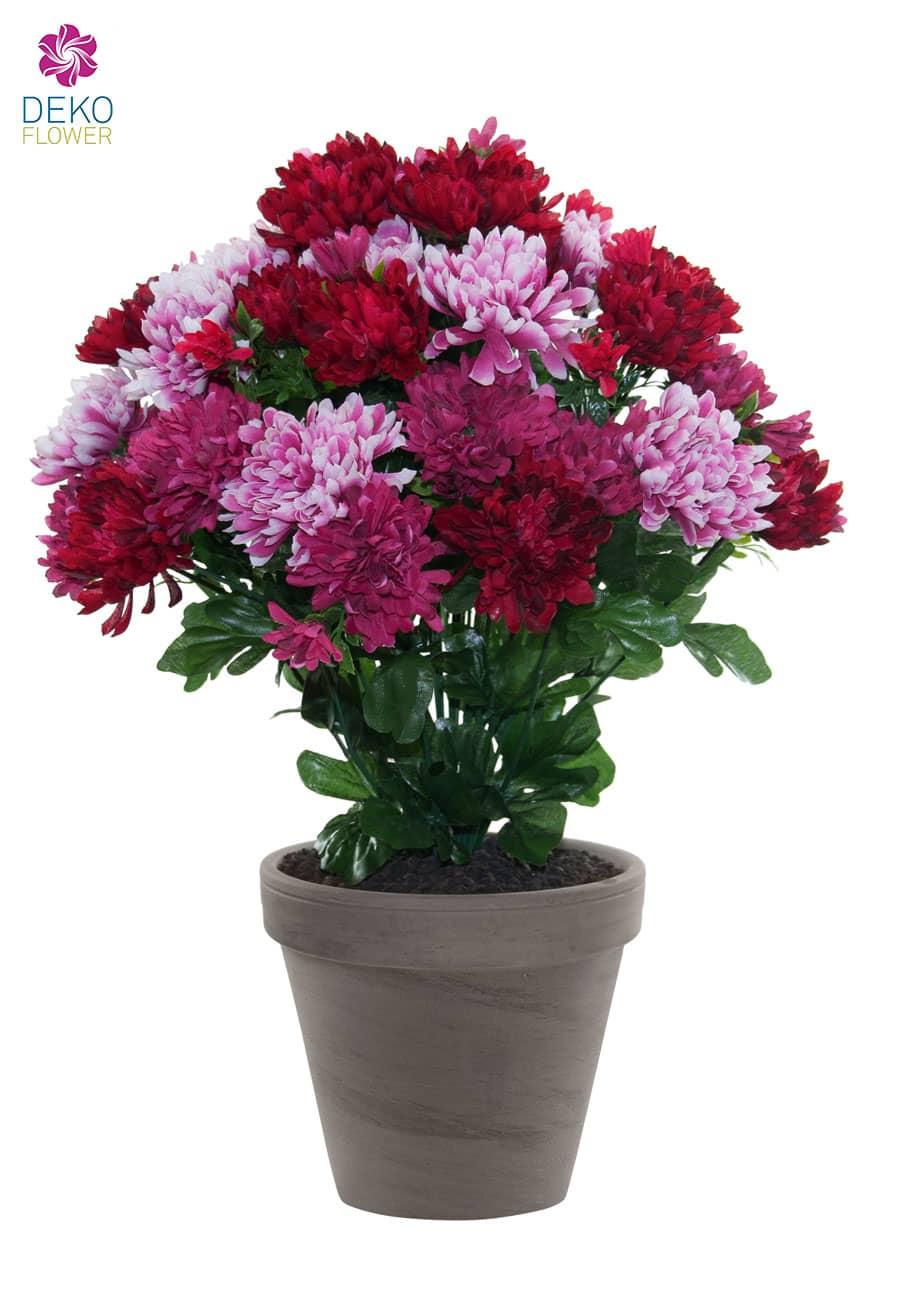 Künstliche Chrysanthemen Topflumen pink rosa 43 cm