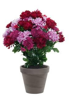 Künstlicher Chrysanthemen Busch pink-rosa 43cm im Tontopf