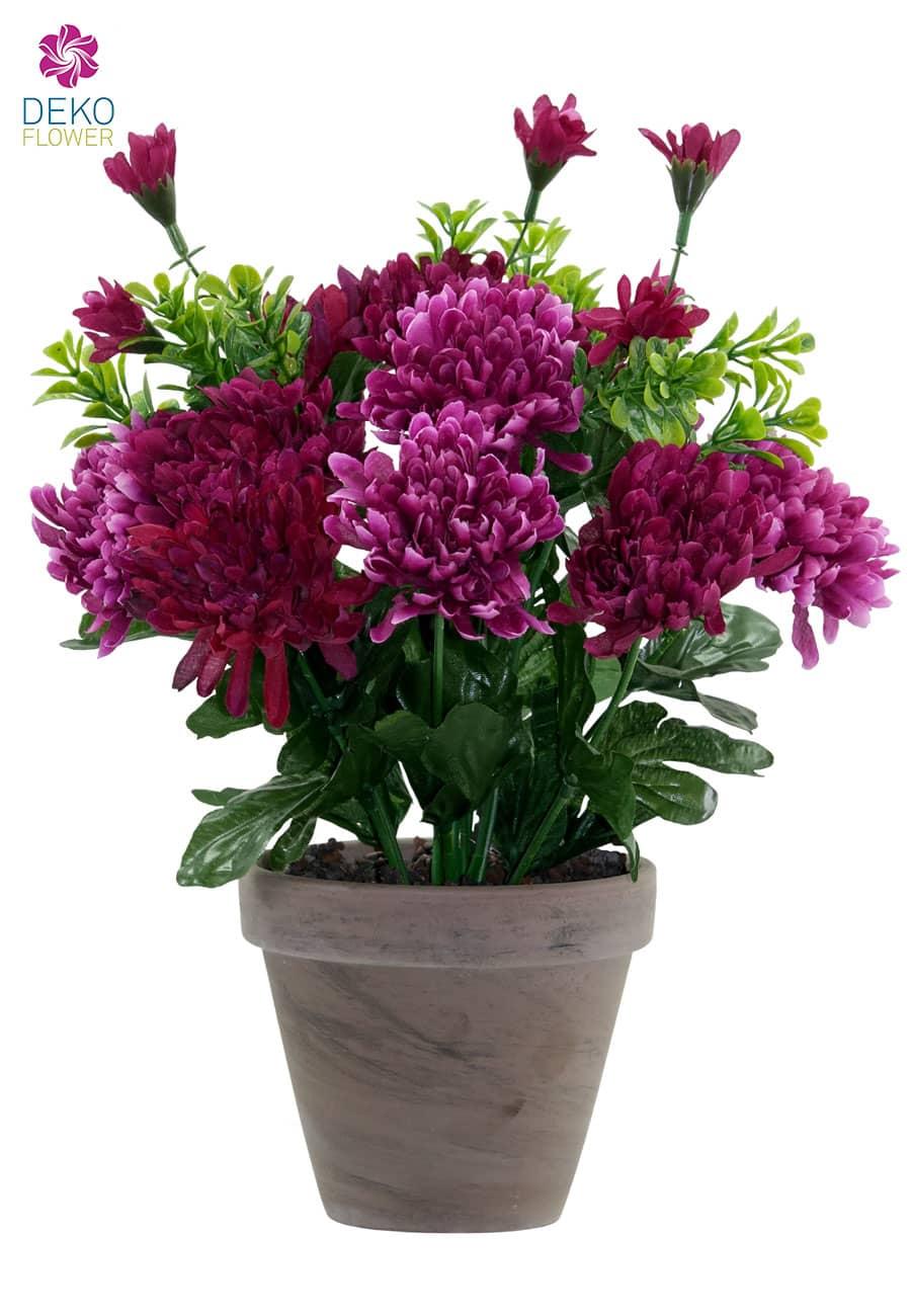 Chrysanthemen Kunstblumen weinrot pink 29 cm im Topf