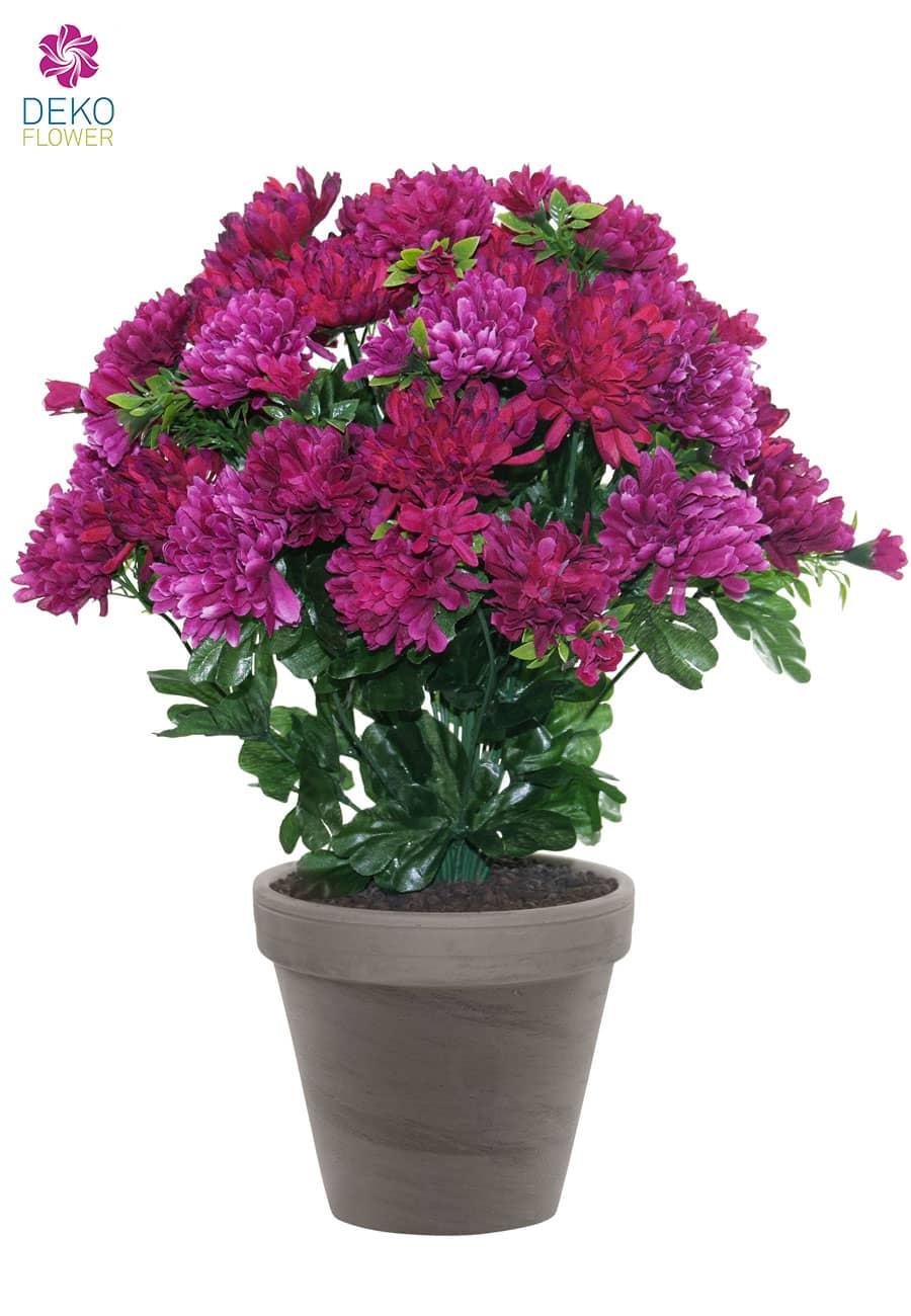 Künstliche Chrysanthemen Topflumen weinrot pink 43 cm