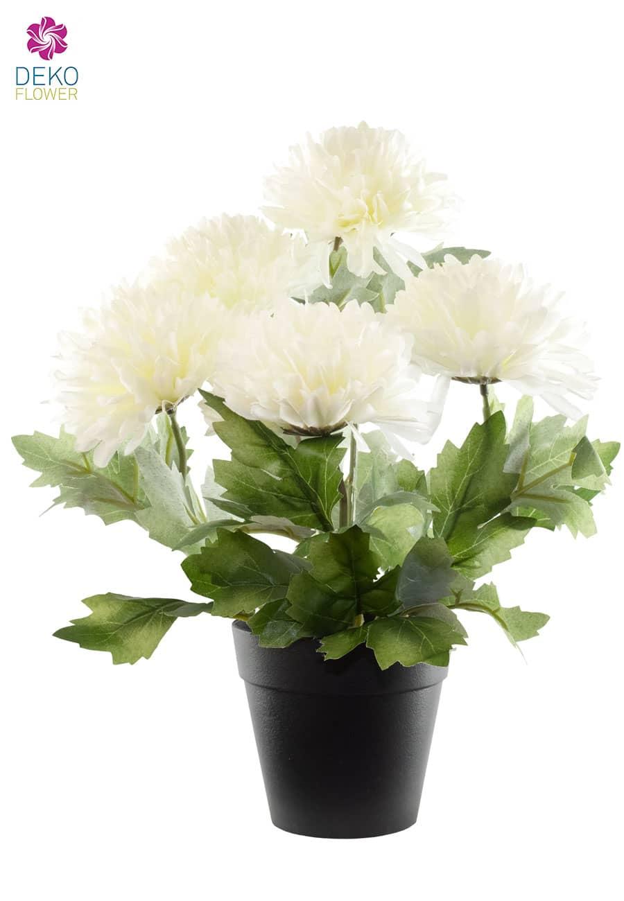 Künstliche Chrysanthemen rund weiß 32 cm